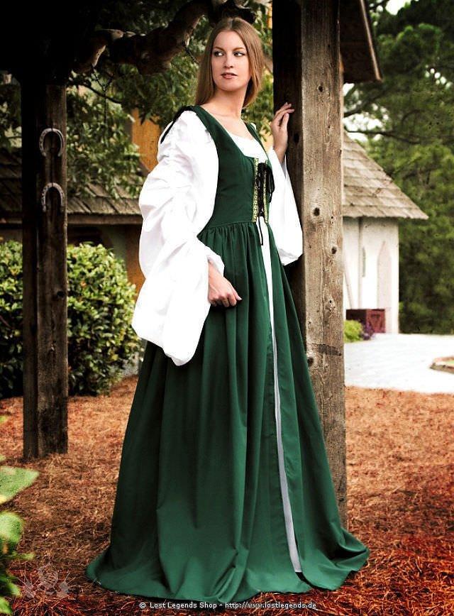 Mittelalter Überkleid mit Schnürmieder, grün
