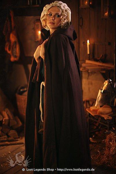 Mittelalter Umhang mit langer Zipfelkapuze