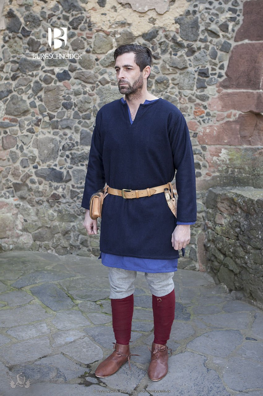 Mittelalter Wolltunika Lodin, blau