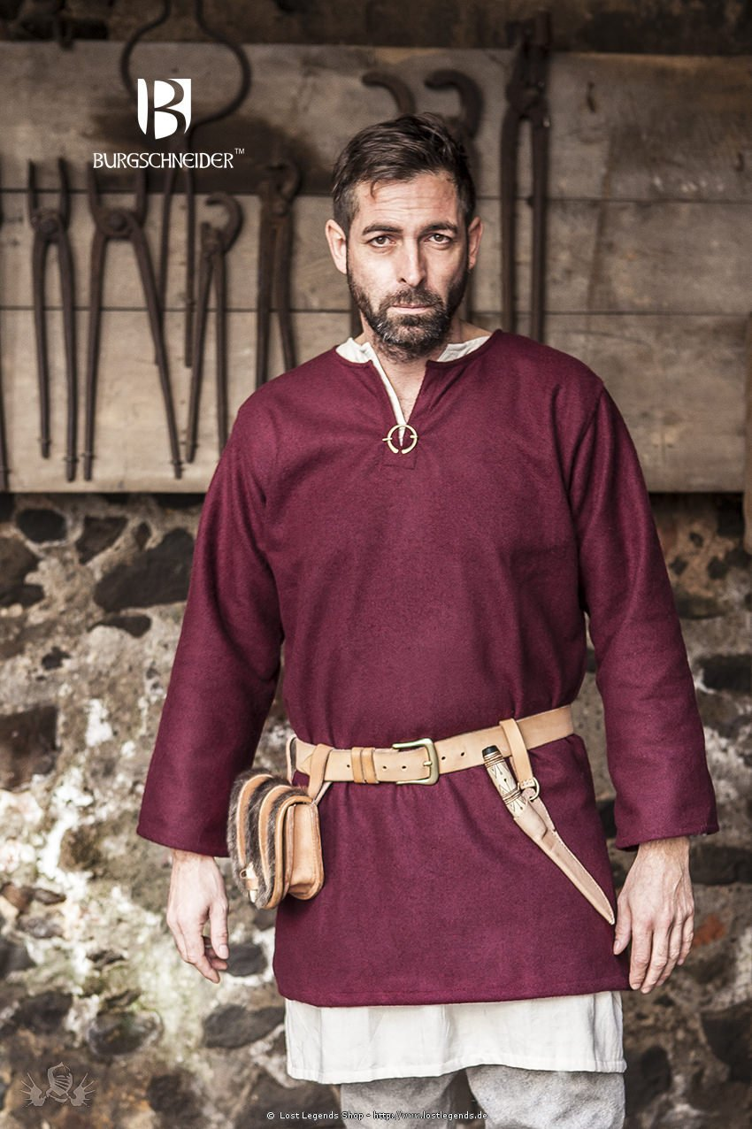 Medieval Wool Tunic Lodin, red