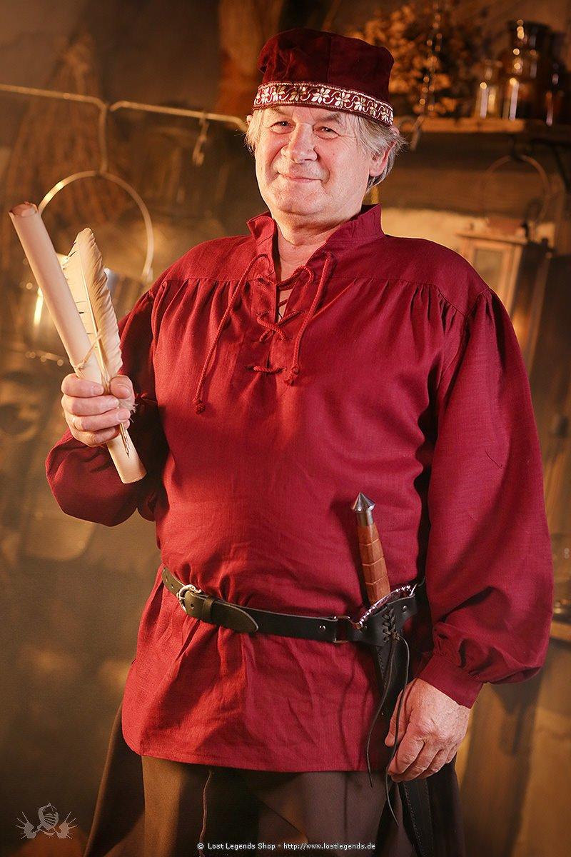 Mittelalter Leinenhemd Rudyard, bordeaux