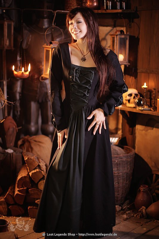 Schwarzes Mittelalterkleid mit Schnürung