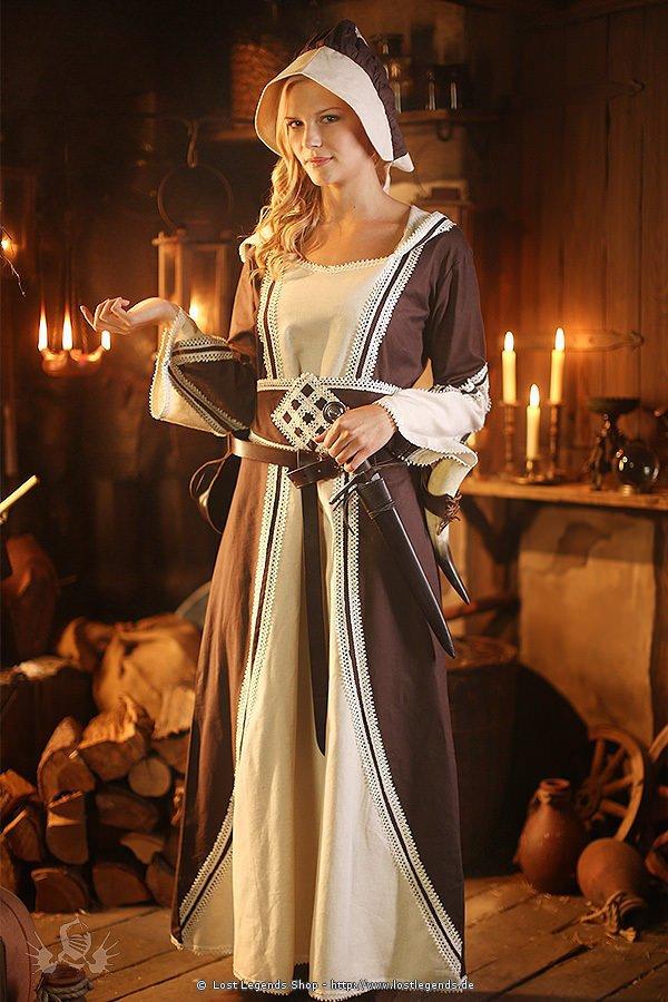 Mittelalterkleid mit Spitzenbordüren
