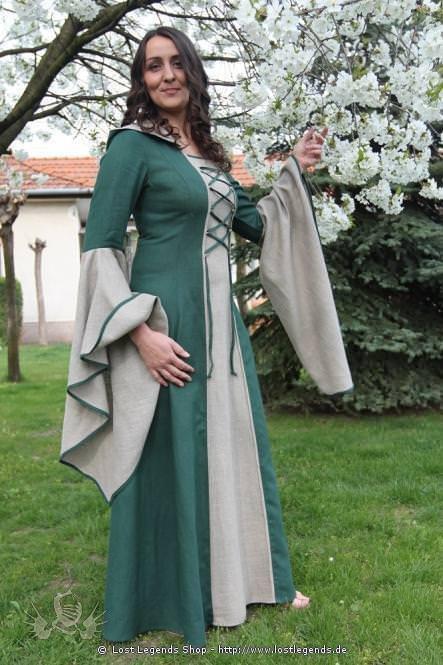 Mittelalterkleid Mayah Grün und Natur