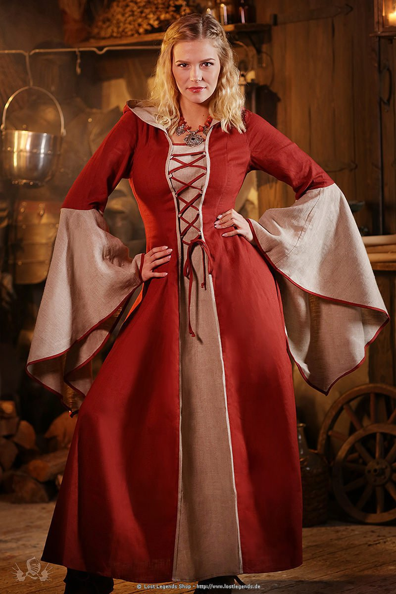 medieval dress Mayah red-natural