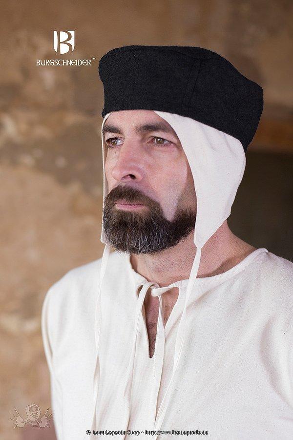 Mittelalterliche Kappe Hugo, schwarz