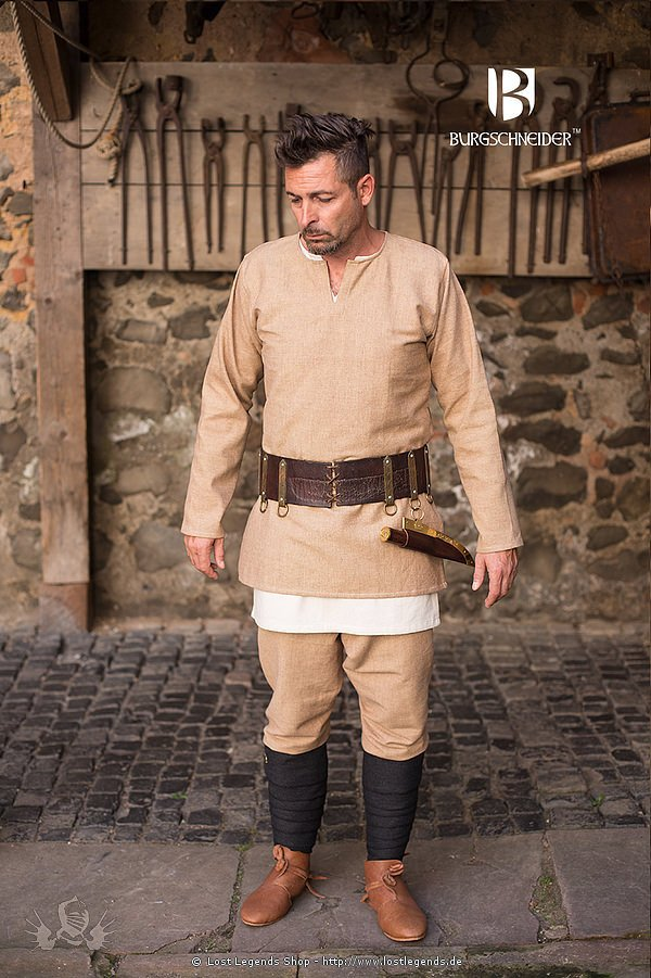 Mittelalterliche Kurztunika Erik, sandfarben