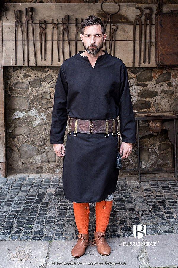 Mittelalterliche Tunika Ekwin, schwarz