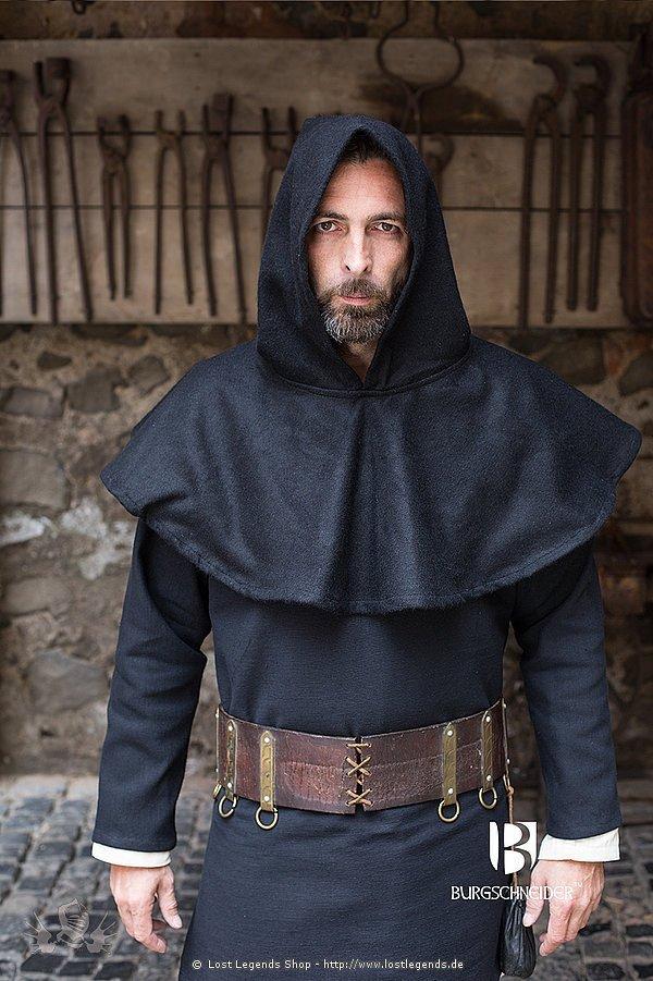 Mittelalterlicher Gugel Cucullus, schwarz