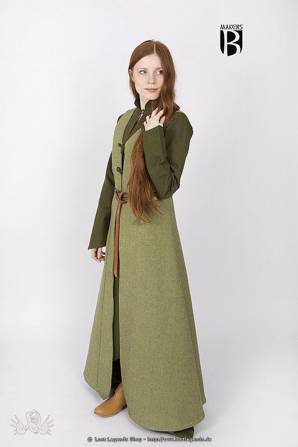 Mittelalterlicher Westenmantel Maiva, lindgrün