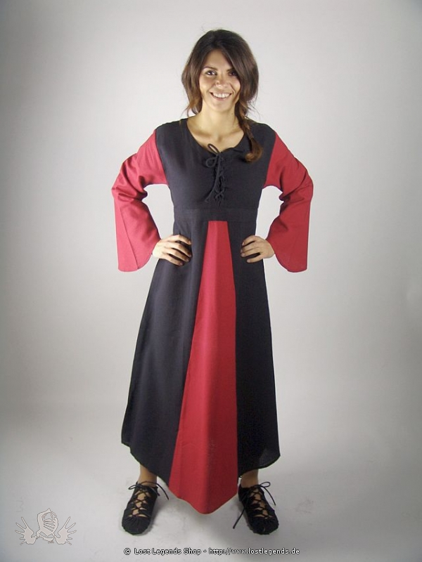 Medieval Cotton Dress with trumpet sleeves
