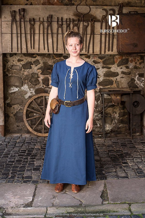 Mittelalterliches Frauengewand Gretl, waidblau