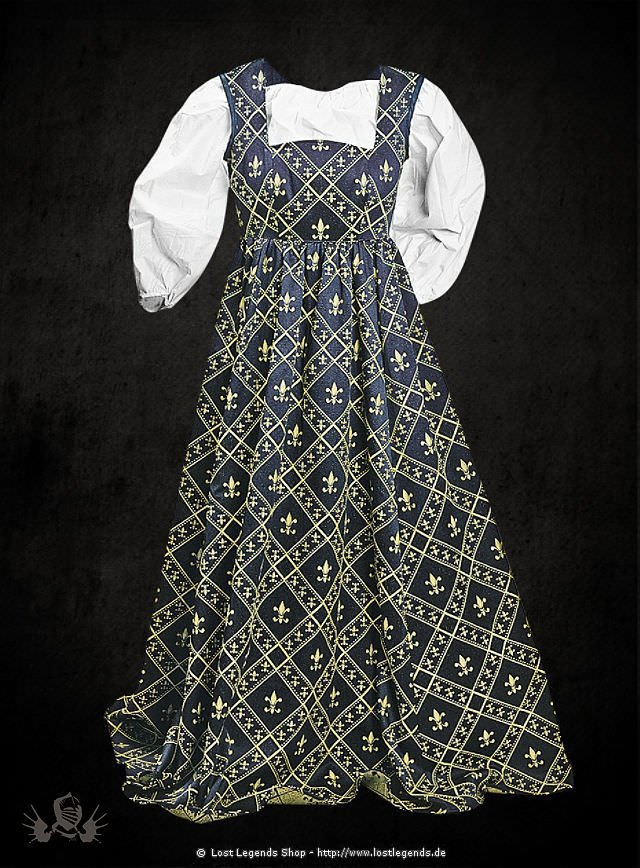 Mittelalterliches Lilienkleid blau