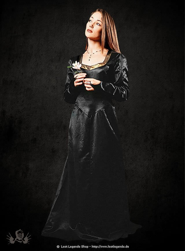 Mittelalterliches Satingewand schwarz