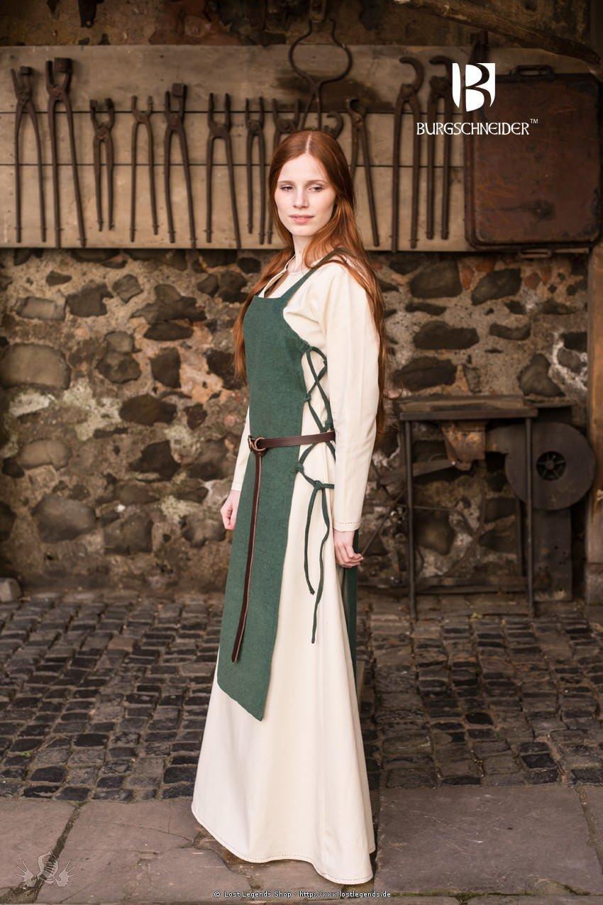 Mittelalterliches Schürzenkleid Gyda, grün