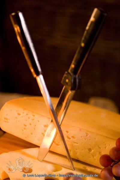 Mittelalterliches Tafelmesser mit Essdorn rostfrei, mit Lederscheide