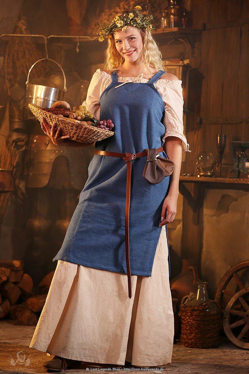 Mittelalterliches Träger-Überkleid Frida, blau
