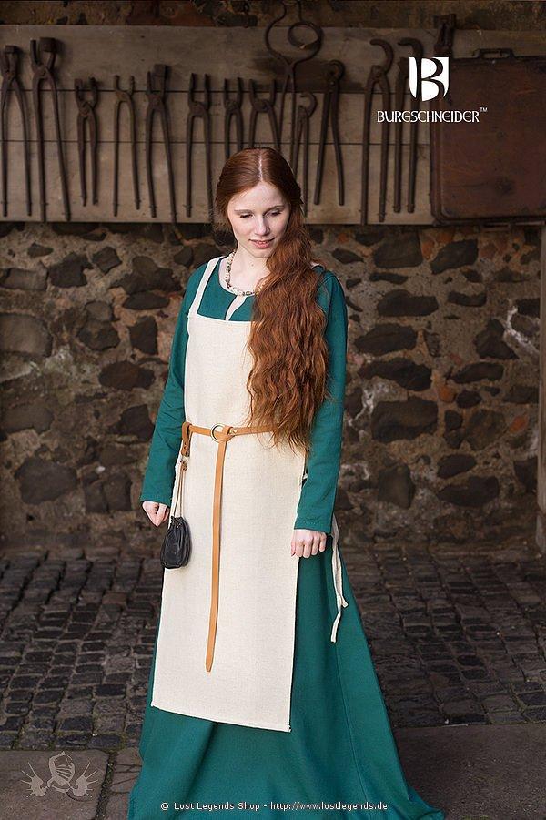 Mittelalterliches Trägerkleid Gydria, hanffarben