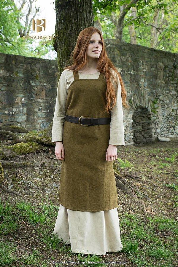 Mittelalterliches Trägerkleid Jodis, herbstgrün