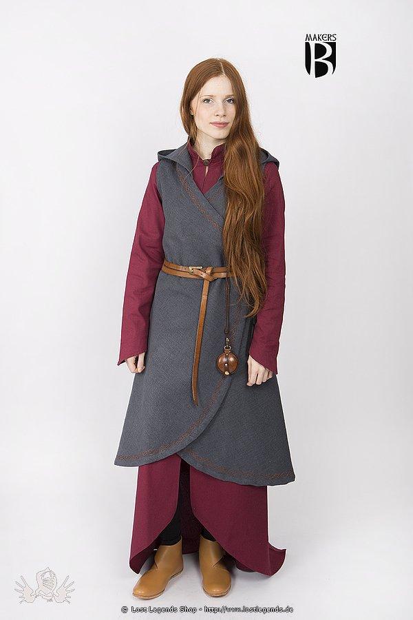 Mittelalterliches Wickelkleid Dala, dunkelgrau