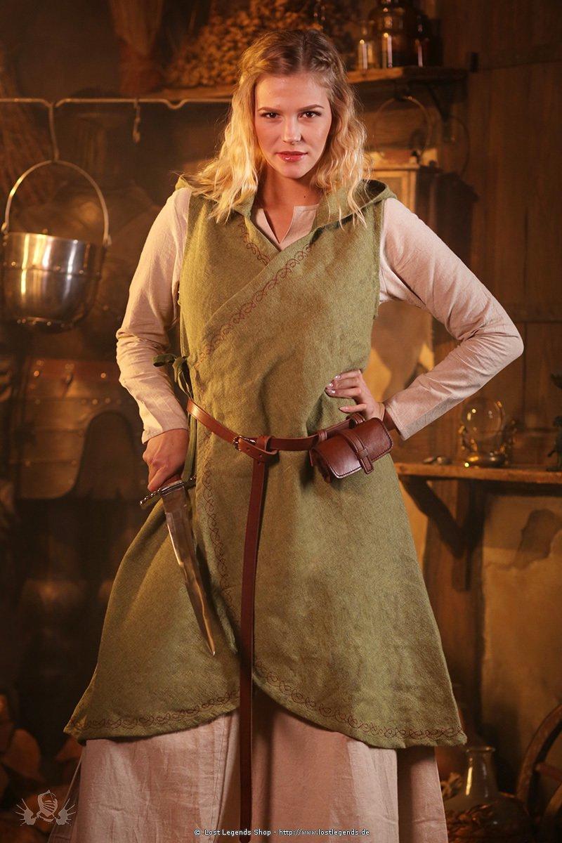 Mittelalterliches Wickelkleid Dala, lindgrün