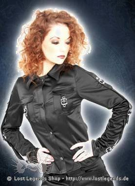 mode wichtig Tongue Blouse Satin Black
