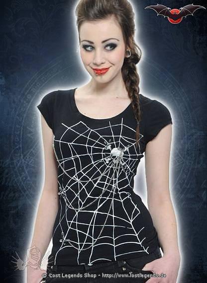Motiv Shirt mit Spinnennetz und Totenkopf