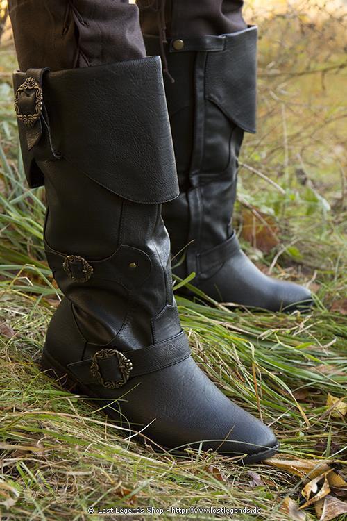 Mittelalterliche Piratenstiefel schwarz