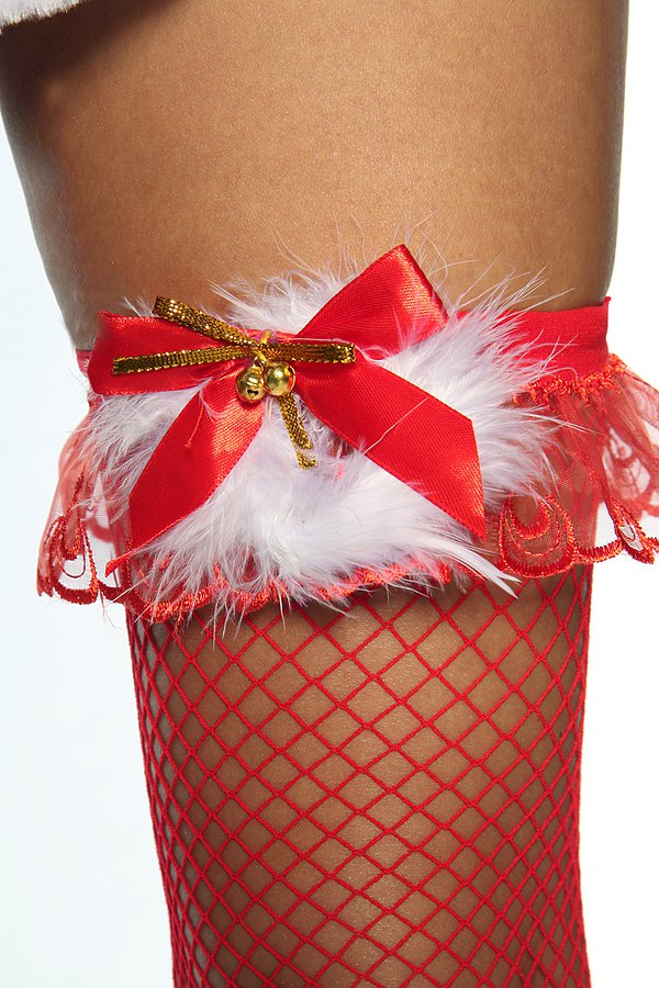Netz-Stockings mit Plüsch rot