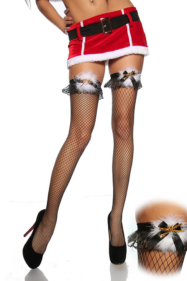 Netz-Stockings mit Plüsch schwarz