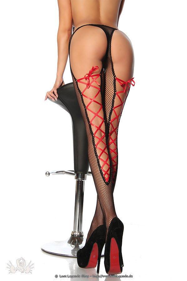 Netz-Strumpfhose mit Schnürung schwarz/rot