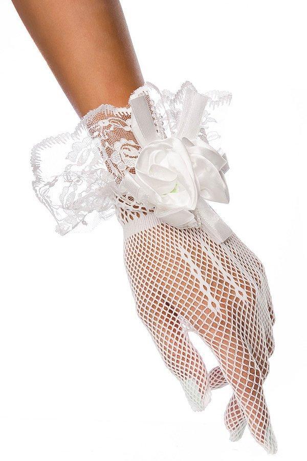 Netzhandschuhe mit Spitze weiß