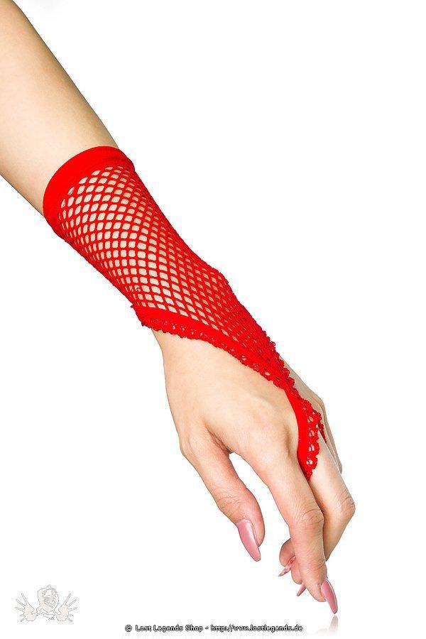 Netzhandstulpen kurz rot