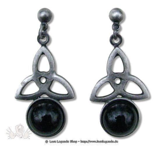Ohrringe Triple Flowers schwarz