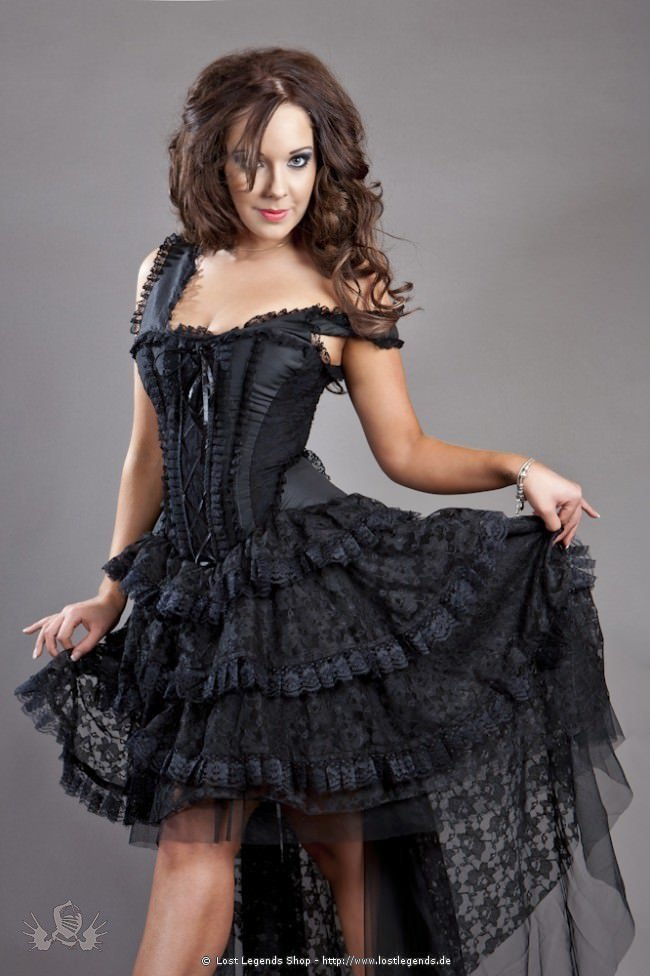 Ophelie Steampunk Corset-Dress Black