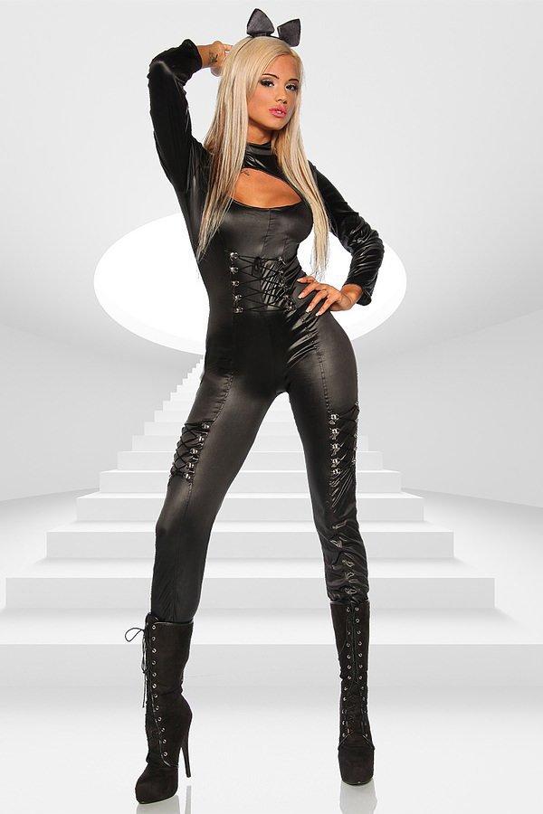 Overall Katzenkostüm schwarz
