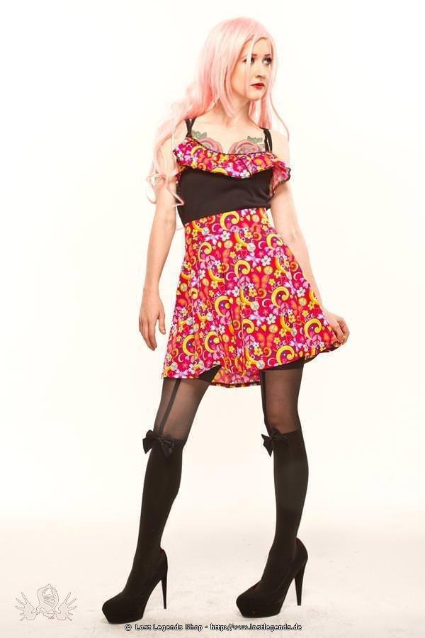Peace Print Flared Pin Up Skirt
