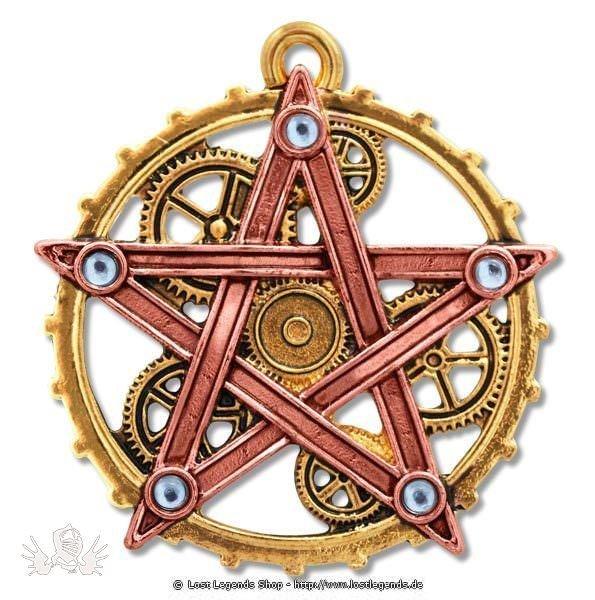 Penta Meridia Anhänger, Steampunk Pentagramm Anne Stokes Engineerium