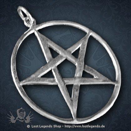 Pentagramm Anhänger 36 mm, Silber
