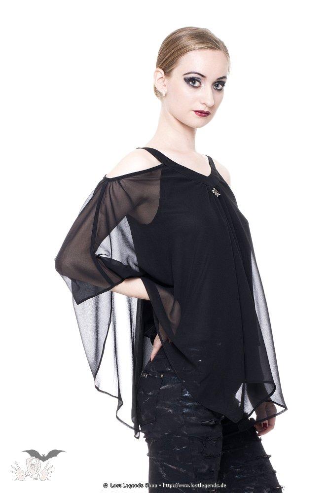 Peplum Gothic T-Shirt mit Netzärmeln