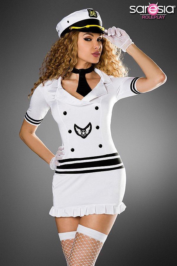 Piloten-Kostüm weiß/schwarz