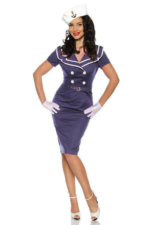 Pin-Up-Vintage-Kleid blau/weiß