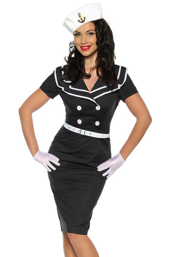 Pin-Up-Vintage-Kleid schwarz/weiß