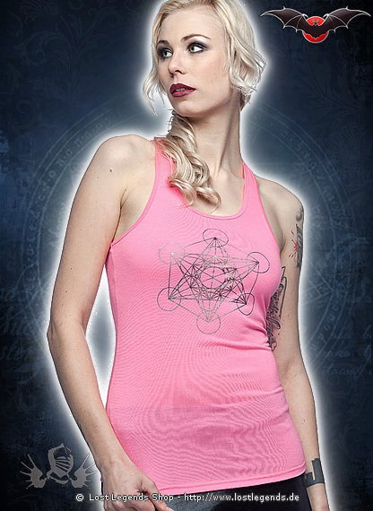 Pinkes Cyber Top mit Silberprint