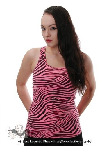 Pinkes Muskelshirt mit Zebramuster