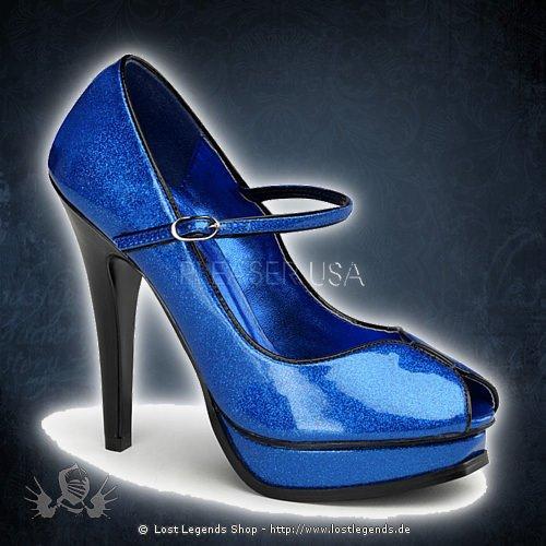 PLEASURE-02G Blau Glitter Lack