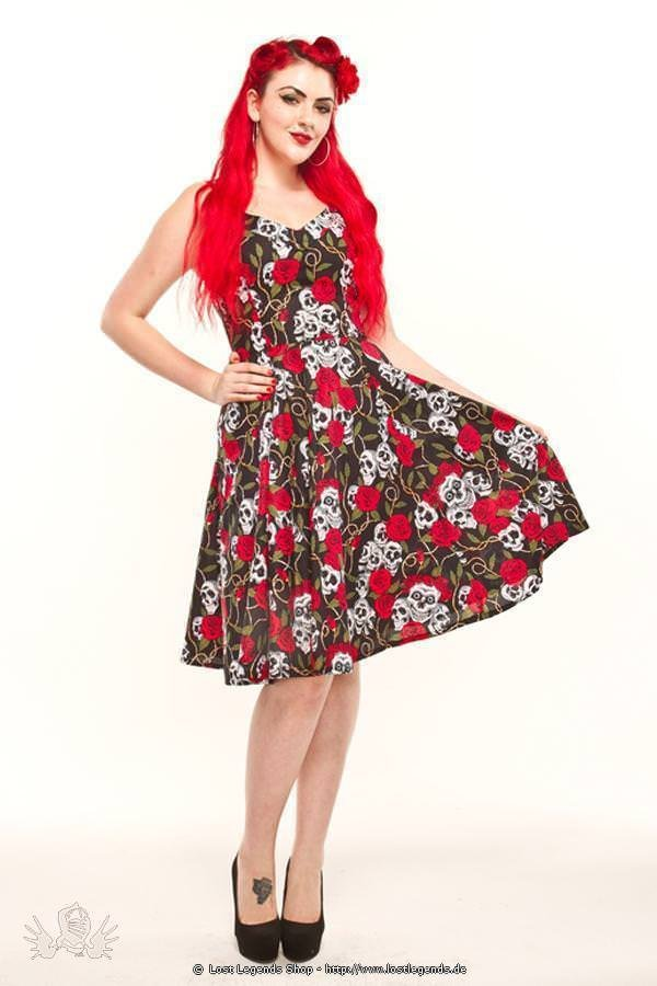 Pinup Kleid Skull and Rose Print
