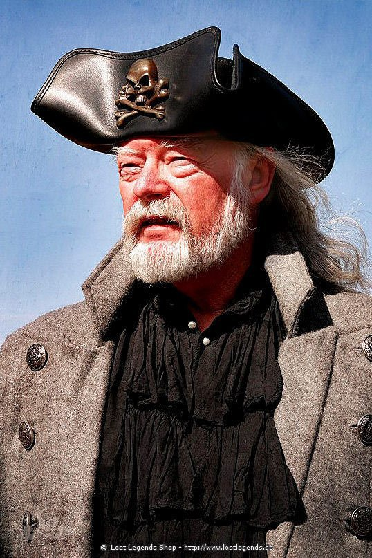 Pirates Leather Tricorn aus schwarzem Leder