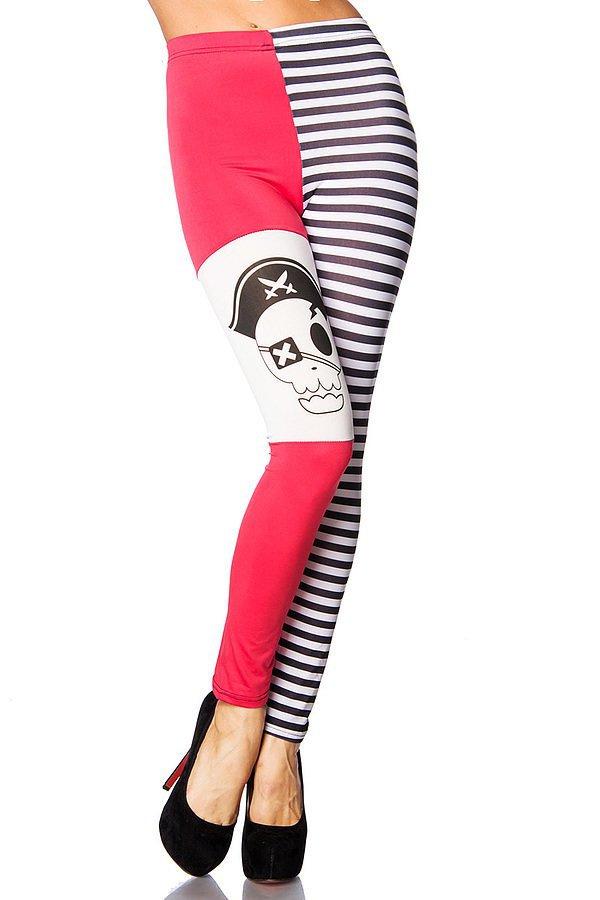 Piraten-Leggings schwarz/pink/weiß