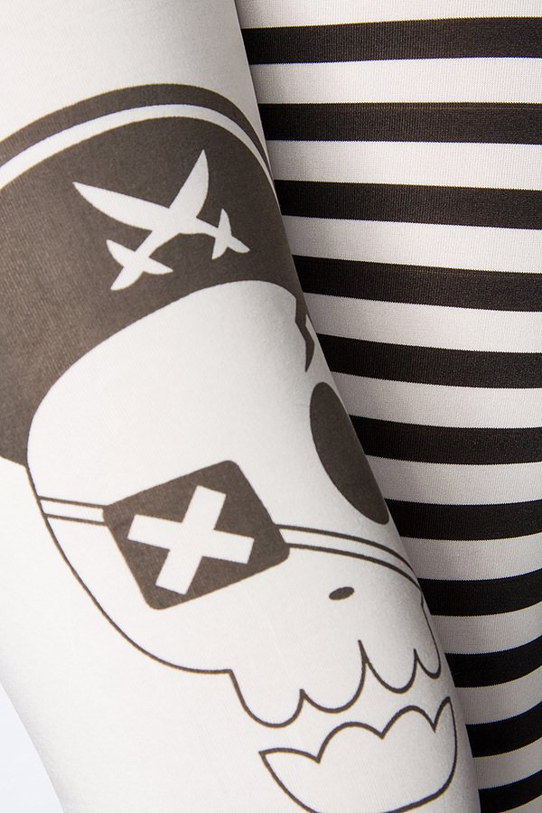 Piraten-Leggings schwarz/weiß